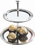 APS Etagere Edelstahl Ø 11 cm/14 cm, Höhe 16 cm Metall verchromt, Buffet Etagere für Essens Dessert Präsentation Lieferung Geschenkkarton