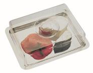 APS Frischhaltebox ca. 25 x 19 cm, Haubenhöhe 7 cm, Edelstahl, mit Haube einzeln eingeschweißt mit Farbeinleger