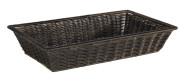 APS GN 1/1 Korb -SUPERSTRONG- aus Kunststoff, 53 x 32,5 cm, Höhe 10 cm, Brotkorb mit Edelstahldraht im Rand, schwarz/braun