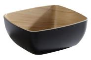 APS GN 1/6 Schale -FRIDA- aus Melamin, 17,6 x 16,2 cm, Höhe 7,5 cm, innen: Holzoptik, außen schwarz