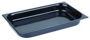 APS GN-Konvektomatenblech GN 1/1, 6,5 cm tief Stahl, beidseitig beschichtet mit schwarzem Granit-Emaille in 2 Ecken gelocht