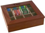 APS große Teebox aus Holz, m. 12 Kammern & Sichtfenster, ca. 30 x 28 x 9 cm, in braun-rot