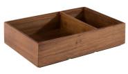 APS Holzbox -WOODY-, 22,5 x 15 cm, H5,5 cm, aus Akazienholz, unterteilt in 2 Fächer, Innenmaße: 13,5 x 13 cm / 13 x 6,5 cm, Aufbewahrungsbox