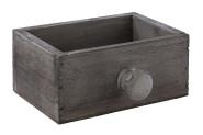 APS Holzkiste -VINTAGE-, 11,5 x 7,5 x H5 cm, aus Holz, mit Knauf/Griff, in Used-Look, Schubladenoptik in grau, Aufbewahrungsbox/Aufbewahrungskiste
