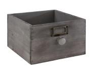 APS Holzkiste -VINTAGE-, 18,5 x 18,5 x H11 cm, aus Holz, mit Knauf/Griff, in Used-Look, Schubladenoptik in grau, Aufbewahrungsbox/Aufbewahrungskiste