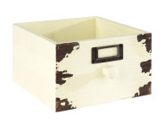 APS Holzkiste -VINTAGE-, 18,5 x 18,5 x H11 cm, aus Holz, mit Knauf/Griff, in Used-Look, Schubladenoptik in weiß, Aufbewahrungsbox/Aufbewahrungskiste