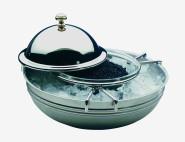 APS Kaviarkühler ca. Durchmesser 18 cm 18/10 Edelstahl poliert Glasschale Durchmesser 10 cm 4-teilig