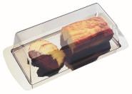 APS Königskuchenplatte ca. 34 x 16,5 cm, Haubenhöhe 10 cm, Edelstahl, mit Haube einzeln eingeschweißt mit Farbeinleger