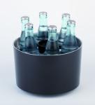 APS Konferenzkühler SIEGER DESIGN Durchmesser 23 cm, H: 15 cm, schwarz Kunststoff ABS, Edelstahl inklusive Kühlakku, Kapselheber