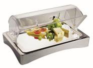 APS Kühl Box GN 1/1 -Top Fresh- ca. 56,5 x 36 cm, Höhe 8,5 cm 18/10 Edelstahl, 4-tlg. Set stapelbar, spülmaschinenfest