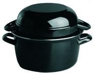 APS Muscheltopf für 1 kg Durchmesser ca. 18 cm schwarz emailiertes Stahlblech mit Edelstahlrand Inhalt: Topf 2,25 Liter Deckel 1,25 Liter