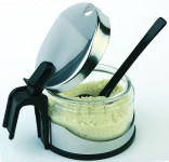 APS Parmesan-Menage -Economic- ca. Durchmesser 10,5 cm, Höhe 7 cm Edelstahl / Kunststoff Menage inkl. Kunststofflöffel für Parmesan oder Zucker