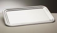 APS Partyplatte -Classic- 41 x 31 cm, Metall vernickelt und glanzverchromt mit Liniendekor Rand eingerollt mit Farbeinleger