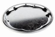 APS Partyplatte, rund Durchmesser 35 cm, Metall vernickelt und glanzverchromt Innenfläche ziseliert Rand eingerollt mit Farbeinleger