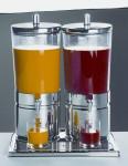 APS Saftdispenser -Top Fresh Duo- ca. 42 x 35 cm, Höhe 52 cm 2 x 6 Ltr, 18/10 Edelstahl kratz- und stoßfest, spülmaschinenfest