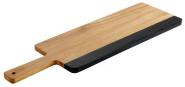 APS Servierbrett -AKAZIE SCHIEFER-, 36,5 x 15 x 1,5 cm, aus Akazienholz und Naturschiefer, Griff 12 cm, Hängeloch Ø 1 cm