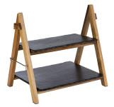 APS Serviergestell, 2-stufig, 36,5 x 26,5 cm, Höhe 34 cm, aus Naturschiefer/Akazienholz, mit Sicherung