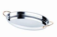 APS Servierpfanne/Gratinplatte ca.26,5 x 19,5 cm, Höhe 3,5 cm 0,6 l, Edelstahl poliert, oval vergoldete Edelstahl-Griffe