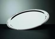 APS Servierplatte -Profi Line- ca. 60 cm x 41 cm, Höhe 2,6 cm 3 Liter, 18/10 Edelstahl poliert, mit Dekor-Rand, oval