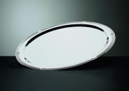 APS Servierplatte -Profi Line- ca. 70 cm x 46 cm, Höhe 2,6 cm 4 Liter, 18/10 Edelstahl poliert, mit Dekor-Rand, oval
