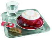 APS Serviertablett quadratisch ca. 23 x 23 cm Edelstahl 18/8, stabiler, eingerollter Rand, ideal zum Servieren von Kaffee, Tee, oder Wasser