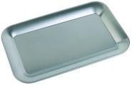 APS Serviertablett rechteckig, ca. 21,5 x 13 cm Edelstahl 18/8, stabiler, eingerollter Rand, ideal zum Servieren von Kaffee, Tee oder Wasser