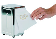 APS Serviettenhalter ca. 10 x 11,5 cm, Höhe 18,5 cm Edelstahl 18/0, für Servietten mit 1/8-Falz, Füße mit rutsch- und kratzfester Gummierung