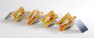 APS Snackpresenter aus Edelstahl mit 4 Mulden, 56 x 8 x 5,5 cm