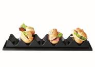 APS Snackpresenter ca. 33 x 19,5 cm, Höhe 8 cm PS, schwarz, für 6 Brötchen / 3 Baguettes,zur Präsentation mit Saftrille und Griffmulde