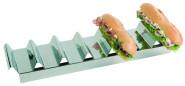 APS Snackpresenter ca. 47,5 cm x 10,5 cm, Höhe 6 cm Edelstahl poliert, mit 7 Mulden, zur Präsentation von Brötchen, Sandwich, Baguette, etc.