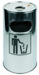 APS Standascher, Abfalleimer, Durchmesser 30 cm, Höhe ca. 60 cm Edelstahl, rostfrei herausnehmbarer Aschereinsatz, verzinkter Innenbehälter für Abfall