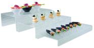 APS Stufen-Display ca. 40 x 20 cm, Höhe 8 cm Acrylglas mit Schieferstruktur stapelbar ideal für das Büfett