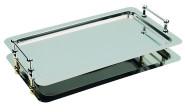APS System-Tablett -Büfett-Star- GN 1/1 - 53 x 32,5 cm Edelstahl, stapelbar, fest verschraubte verchromte Griffe und Distanzstücke