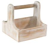 APS Table Caddy -VINTAGE- aus Holz, 15,5 x 15,5 cm, Höhe 15 cm, mit Tragegriff, in Used-Look, Aufbewahrungsbox, weiß