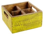 APS Table Caddy -VINTAGE- aus Pinienholz, in gelb, 17 x 17 x 10 cm