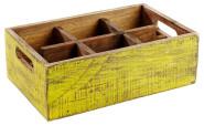 APS Table Caddy -VINTAGE- aus Pinienholz, in gelb, 27 x 17 x 10 cm