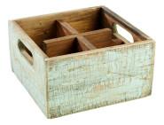 APS Table Caddy -VINTAGE- aus Pinienholz, in türkis, 17 x 17 x 10 cm