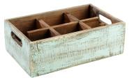 APS Table Caddy -VINTAGE- aus Pinienholz, in türkis, 27 x 17 x 10 cm