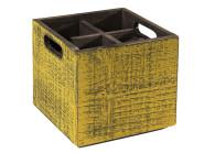 APS Table Caddy -VINTAGE- Box, 17 x 17 cm, Höhe 16 cm, aus Holz, in gelb, unterteilt in 4 Fächer, mit Griffen, gelbe Used-Look