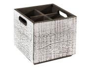 APS Table Caddy -VINTAGE- Box, 17 x 17 cm, Höhe 16 cm, aus Holz, in weiß, unterteilt in 4 Fächer, mit Griffen, weißer Used-Look