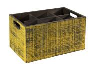 APS Table Caddy -VINTAGE- Box, 27 x 27 cm, Höhe 16 cm, aus Holz, in gelb, unterteilt in 4 Fächer, mit Griffen, gelbe Used-Look