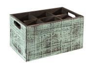 APS Table Caddy -VINTAGE- Box, 27 x 27 cm, Höhe 16 cm, aus Holz, in türkis, unterteilt in 4 Fächer, mit Griffen, türkise Used-Look