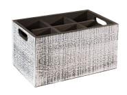 APS Table Caddy -VINTAGE- Box, 27 x 27 cm, Höhe 16 cm, aus Holz, in weiß, unterteilt in 4 Fächer, mit Griffen, weißer Used-Look
