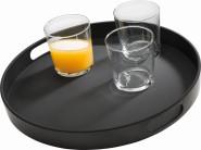 APS Tablett -BISTRO-, Melamin, schwarz, Ø 35,5 cm, H: 4,5 cm