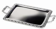 APS Tablett -Schöner Essen- ca. 52 x 31 cm, rechteckig Edelstahl, mit Dekorrand Griffe Zinkdruckguss verchromt Griffe fest genietet