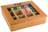 APS Teebox mit 12 Kammern ca. 30 x 28 cm, Höhe 9 cm helle Holzbox mit Sichtfenster aus Acryl 12 Kammern