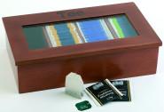 APS Teebox mit 4 Kammern ca. 33,5 cm x 20 cm, Höhe 9 cm Holz, rot-braun Holzbox mit Sichtfenster 4 Kammern