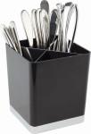 APS Tischreste- / Besteckbehälter, ABS, schwarz, Edelstahl, 14 x 14 cm, H: 16 cm