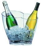 APS Wein- / Sektkühler ca. 30,7 x 21,3 cm, Höhe 26 cm Kunststoff, glasklar für 2 Flaschen geeignet