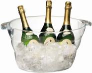APS Wein- / Sektkühler ca. 47 x 28 cm, H: 23 cm Kunststoff, glasklar für bis zu 6 Flaschen geeignet Fassungsvermögen: ca. 10 Liter